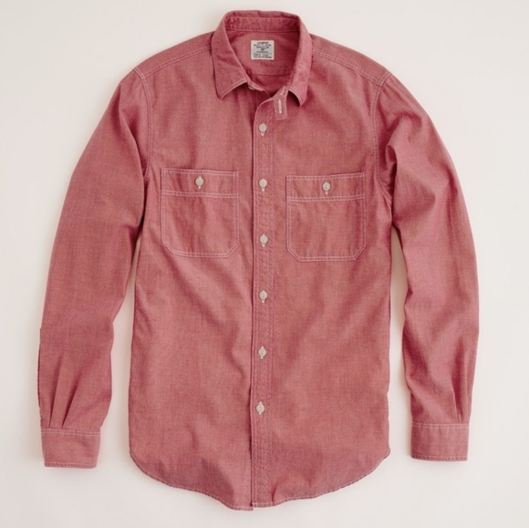 J. Crew Red Chambray button down